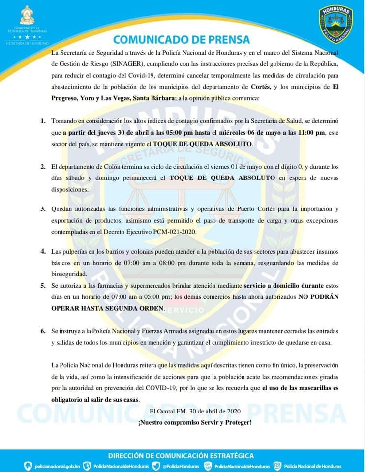Restricción de Circulación de Personas en Cortes, Colon y El Progreso
