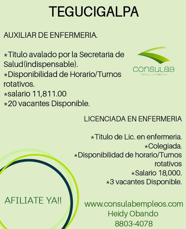 Auxiliar de enfermeria en Tegucigalpa