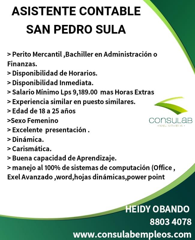 Asistente contable en San Pedro Sula