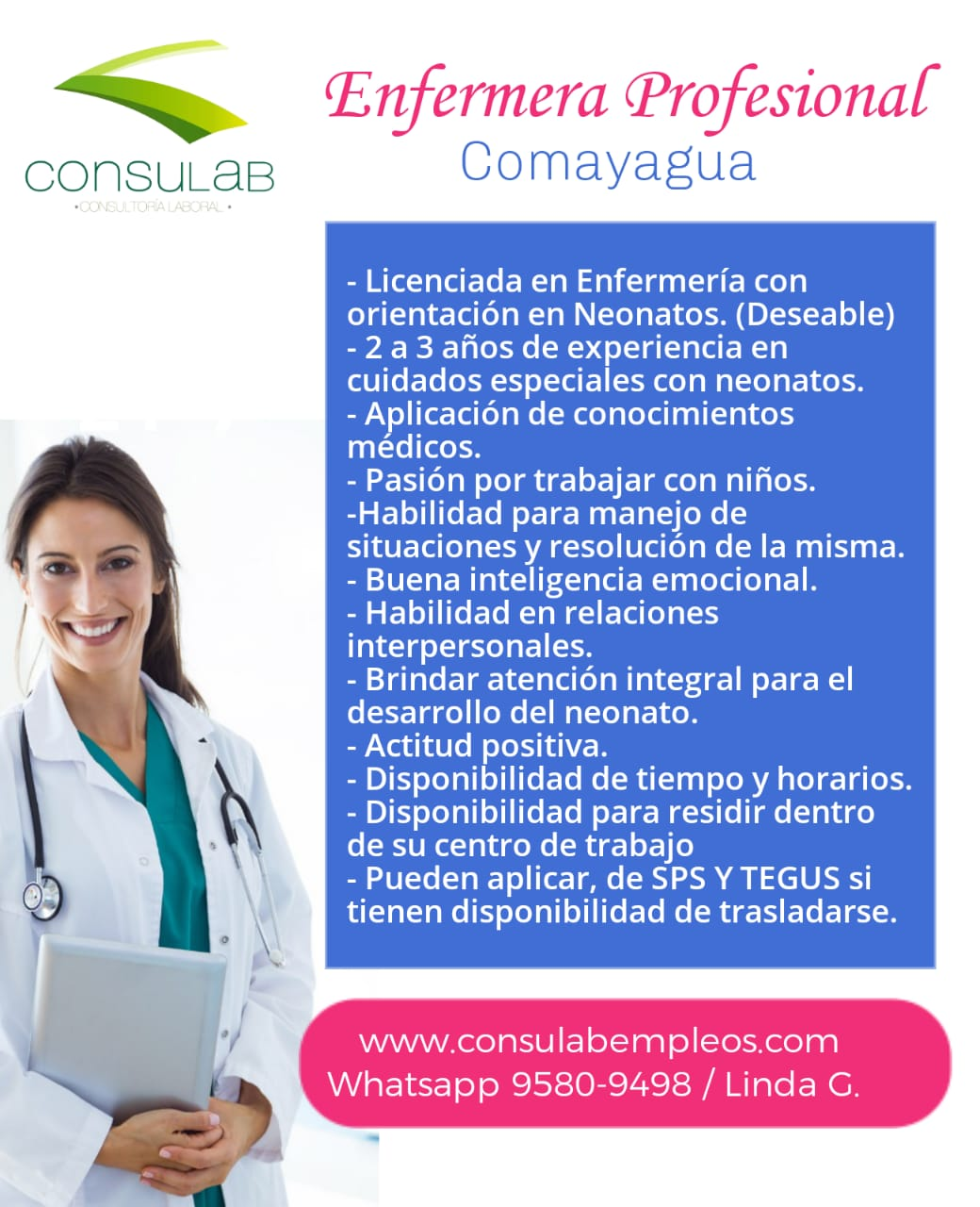 Enfermera profesional en Comayagua