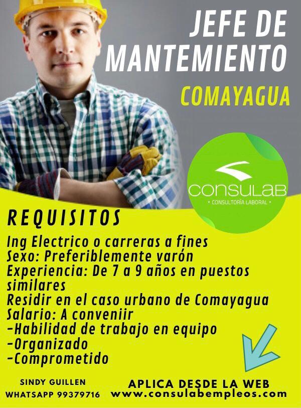 Jefe de mantenimiento en Comayagua