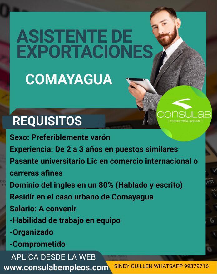 Asistentes de exportaciones en Comayagua