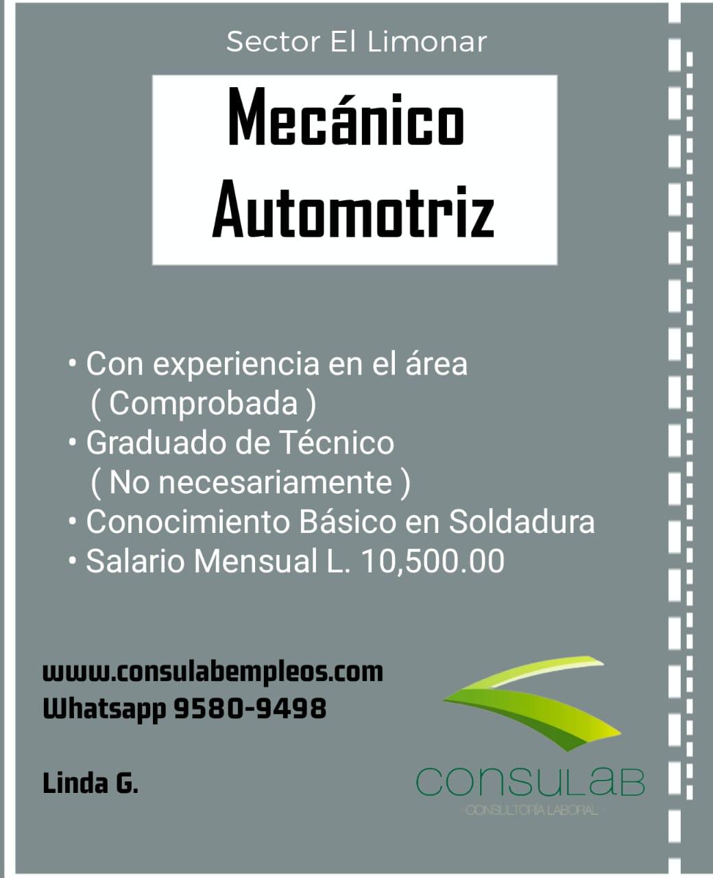 Mecanico automotriz Sector el Limonar