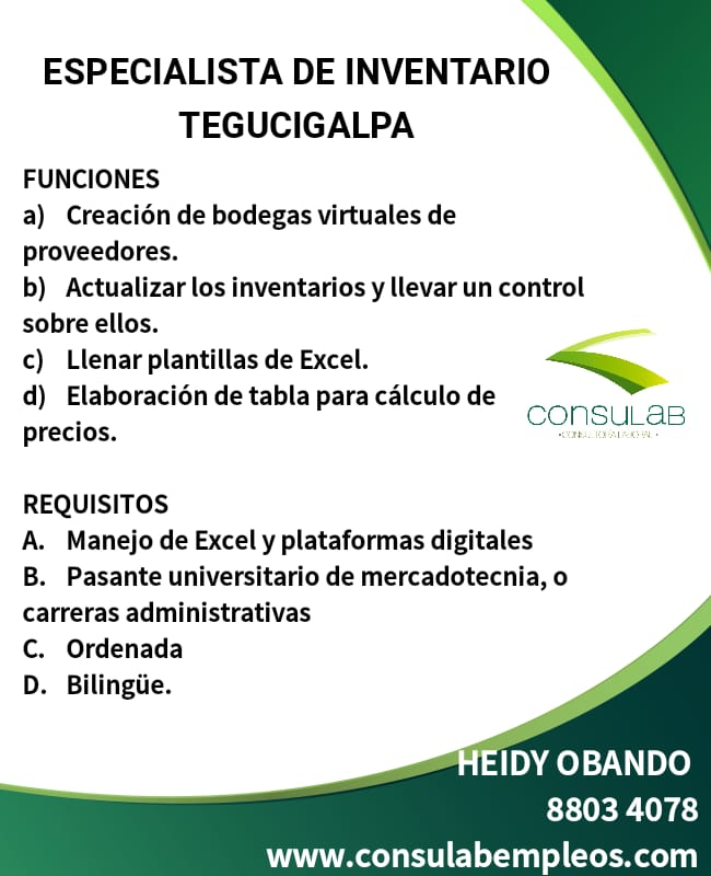 Especialista de inventario en Tegucigalpa