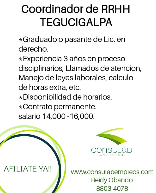 Coordinador de RRHH Tegucigalpa