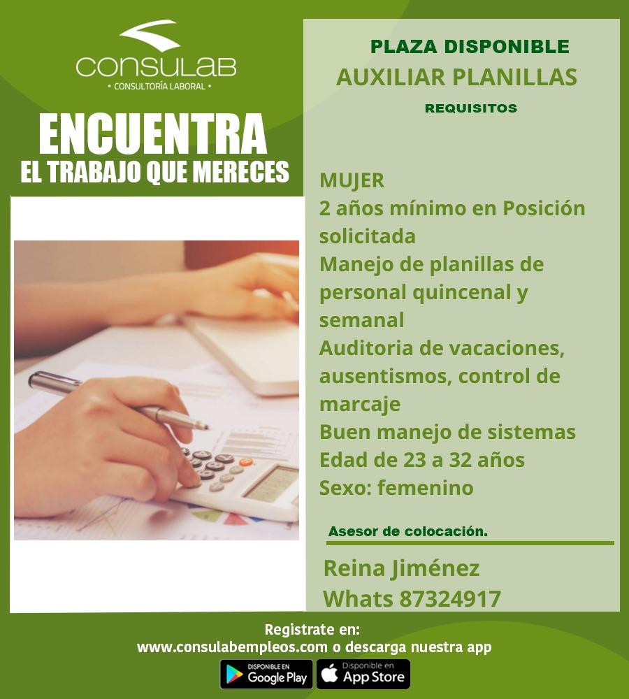 Plaza disponible Auxiliar Planillas