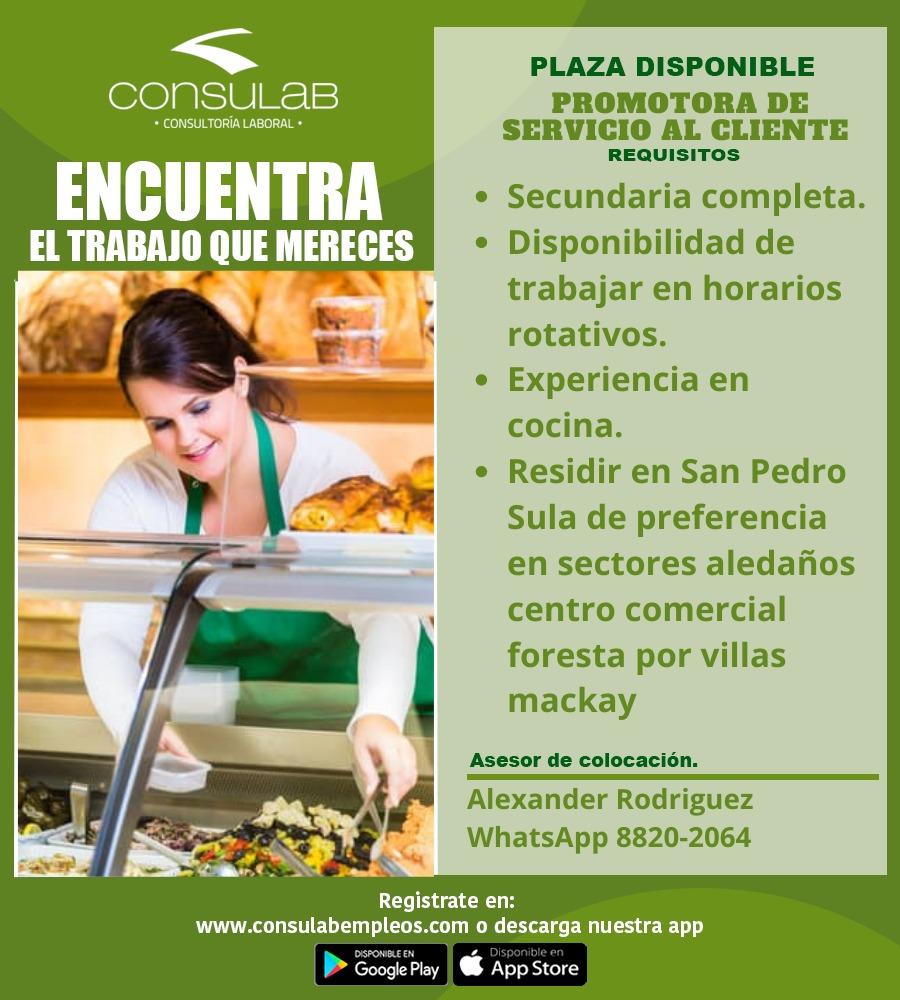 Plaza disponible Promotora de Servicio al cliente