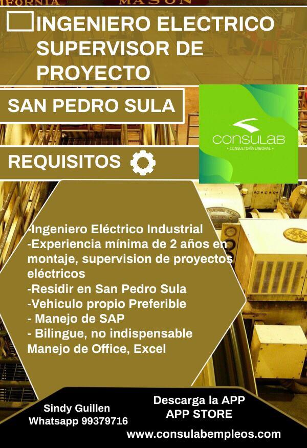 Ing Electrico Supervisor de proyecto