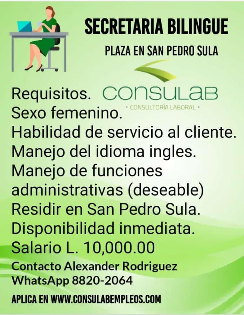 Secretaria bilingue plaza en S.P.S.