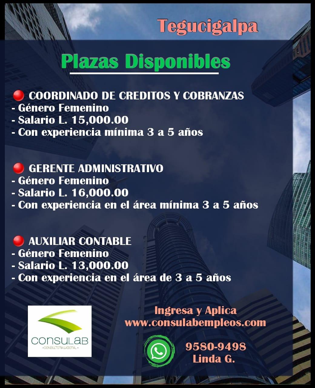 Plazas disponibles en Tegucigalpa
