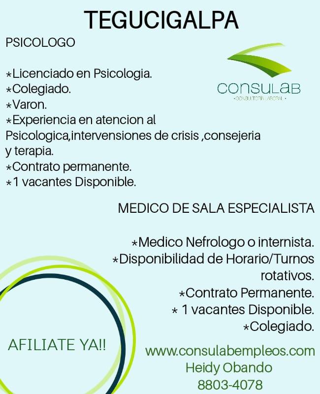 Vacante para Psicologo enTegucigalpa