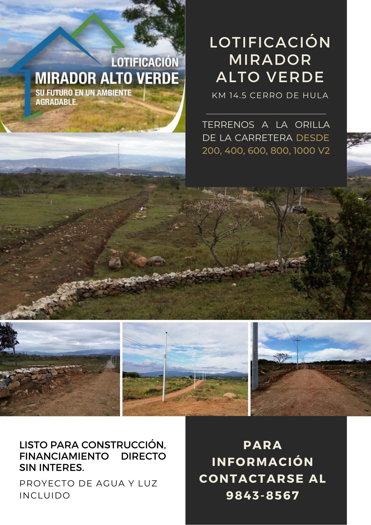 Lotes Mirador Alto Verde Cerro de Hula